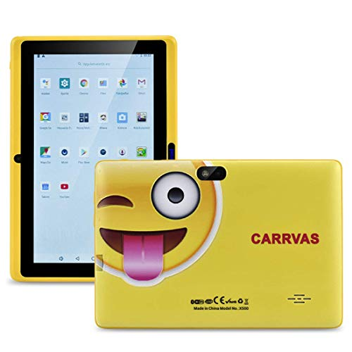 Kids Tablet WiFi Android 8.1 Tablet for Kids CARRVAS GMS Certificated Toddler Tablet Pre Installed Iwawa 7 inch Pad Parent Control Education Tablets with Educational Game Apps, Kid-Proof (Yellow)