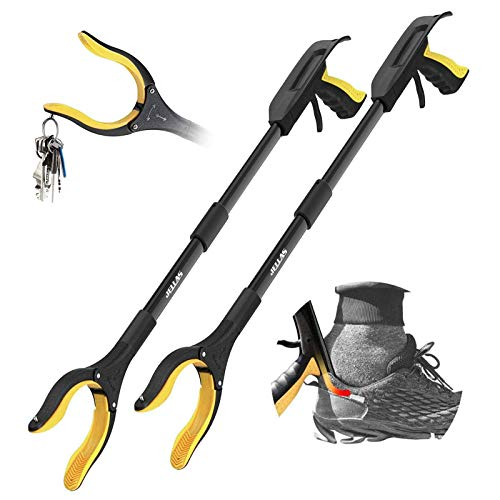 Jellas 2Pack 32 Inch Grabber Reacher Tool with Shoehorn 90° Rotating Head Grabber Tool for Elderly Outdoor and Indoor Trash Picker GrabberYellow