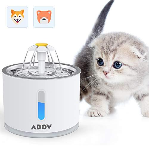 ADOV Katzenbrunnen, 2,4L Edelstahl Trinkbrunnen im Blumenstil, Automatischer Elektrischer USB-Adapter, Austauschbarer Filter, Hygienische Wasserbrunnen für Katzen, Hunde und Kleintiere
