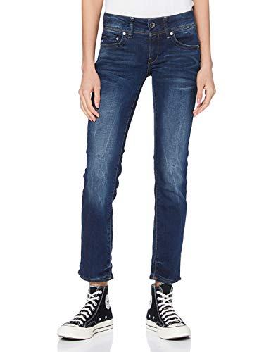 G-STAR RAW Damen Midge Saddle Straight Jeans Mid Waist Straight, Dk Aged 6553-89, 33W / 32L