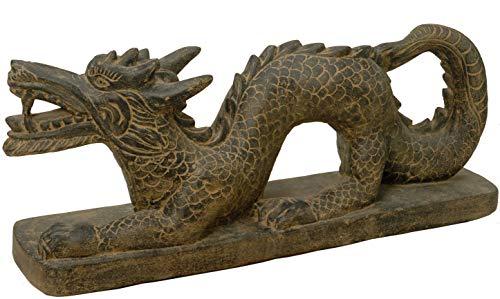 korb.outlet Gartenfigur Chinesischer Drache Steinguss Groß XL/Stein-Figur Steindrache Long Mythologie China Statue 120cm für Haus und Garten