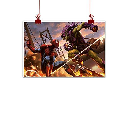 Xlcsomf Pintura al óleo de Spiderman de alta definición, diseño de Spiderman contra goblin verde, lucha por la decoración de sala de estar, sin marco, 61 x 40 cm