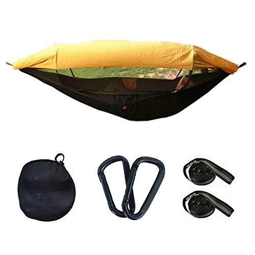 Hangmat MYKK Draagbare campinghangmat voor 1-2 personen, parachutestof met hoge intensiteit Swing met zonnescherm Klamboe 290X145cm geel