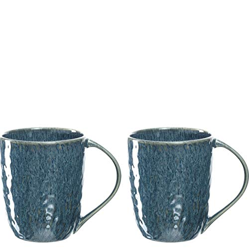 Leonardo Matera Keramik-Tassen 2-er Set, spülmaschinengeeignete Kaffee-Tassen, 2 mikrowellenfeste Tee-Tassen, Becher mit Glasur, blau 430 ml, 026996