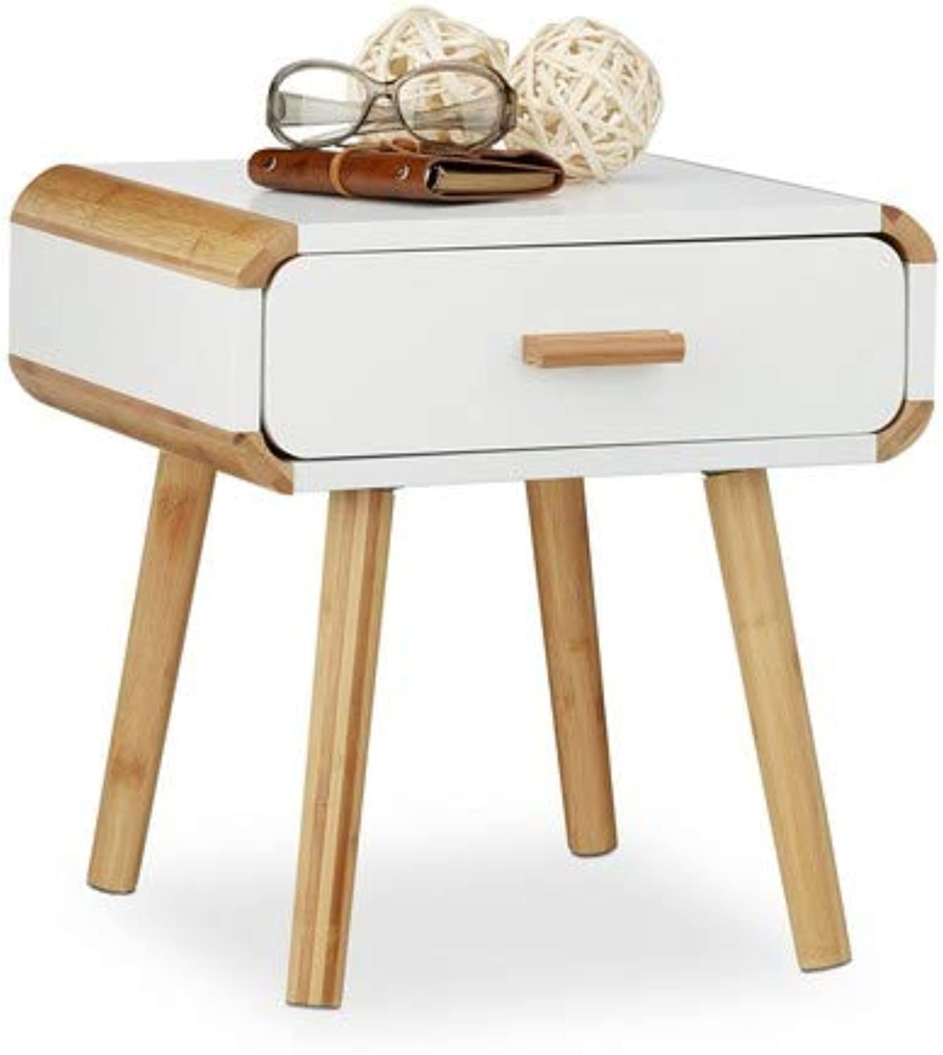 Relaxdays Bedside Table with 1 Drawer, Wooden Nightstand, Compact Bedroom Dresser, HxWxD  41 x 40 x 40 cm, White