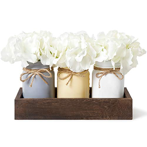 Dahey Decorative Mason Jar Centerpiece Wood Tray with Artificial Flowers Rustic Country Farmhouse Decor for Herb Plants Home Coffee Table Dining Room Living Room Kitchen Garden