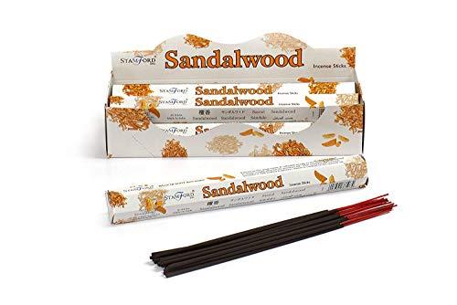 STAMFORD INC. 37107 Sandalwood Incense Sticks, 20 Sticks x 6 Packs