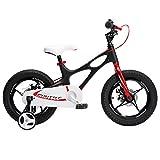 Kids Bike Garçons Filles Espace pour 14 Ans 2-9 Pouces Magnésium Vélo 2 Freins À Disque À La Main Cycle De Formation Roues Ou Béquille Enfant De Vélos,Noir