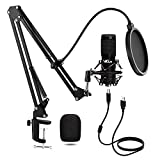 USB Microphone Kit, VeGue 192KHZ/24Bit Streaming Podcast PC Condenser Computer Mic Set for Gaming, YouTube Video, Recording Music, Voice Over, Studio Mic with Adjustable Arm Stand (VG-016)
