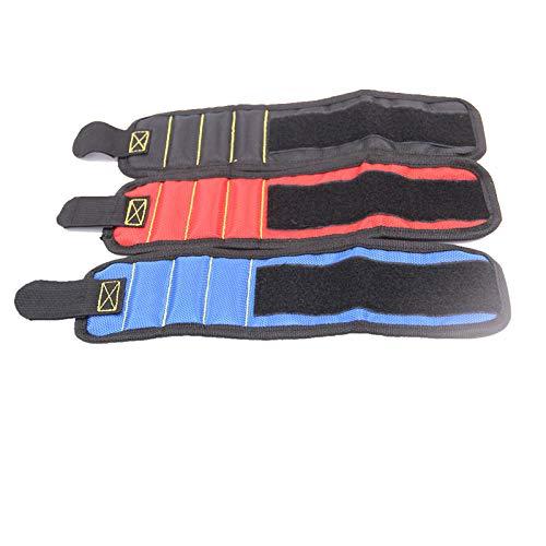 CFDYKRP Banda de Soporte de muñeca magnética Negra Azul roja con imanes Fuertes para retener los Tornillos Pulsera de uñas Soporte (Color : Blue)