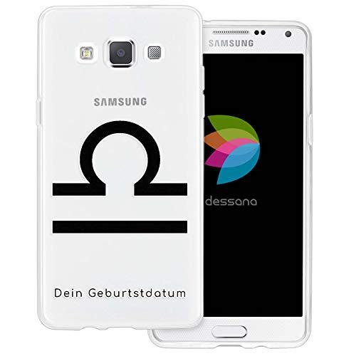 dessana sterrenbeeld met datum transparante silicone TPU beschermhoes 0,7 mm dunne mobiele telefoon soft case cover tas voor Samsung Galaxy A J, Samsung Galaxy A5 (2014-2015), Weegschaal verjaardag