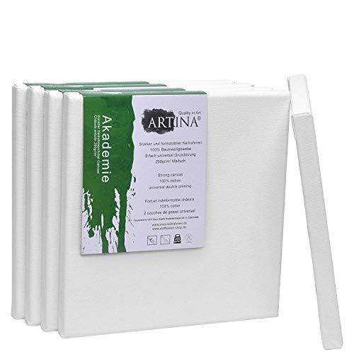 Artina Set de 5 lienzos Blancos Akademie con certificación FSC® - 20x20 cm Cuadrados - 100% algodón Lienzo y Bastidor Blancos 280g/m²