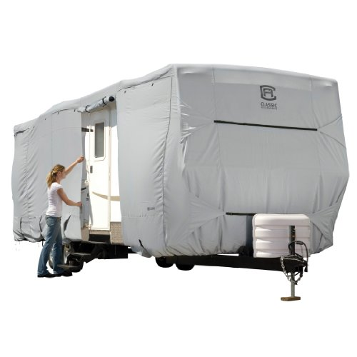 Classic Accessories Over Drive PermaPRO Deluxe Travel Trailer Cover, Fits 27' - 30' RVs - Lightweight Ripstop and Water Repellent RV Cover (80-326-211001-RT)