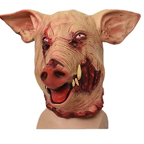 Ruluti 1pc Cerdo Cabeza De Máscara De Halloween Horror Miedo Animal Sombrero Decoración De Halloween Grandes Colmillos del Jabalí De Halloween Cosplay Cerdo Scary Decoración