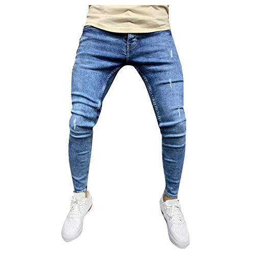Ode-Joy Jeans Uomo Autunno Informale Denim Cotton Vintage Lavare Il Lavoro Hip Hop I Pantaloni Jeans Pantaloni Elasticizzati da Uomo vestibilità Aderente Pantaloni Chino a Gamba Dritta
