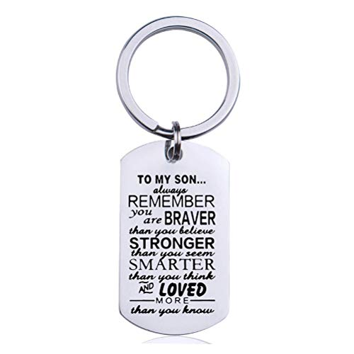 kuou Inspirational Key Rings, Son Keyrings Personalized Key Chain Pendant Keyring to Son Children Family for Birthday Graduation