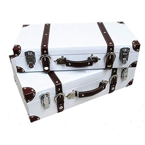 Tronco Equipaje antiguo rojo / blanco del color retro maleta del equipaje del vintage Caja de almacenamiento suave Decoración por la Ventana de visualización Prop caja de madera Adecuado para el dormi
