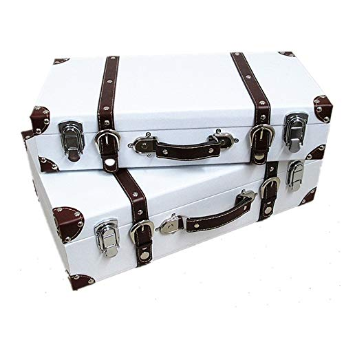 HYMY SUITCASE STORAGE BOXES Red/White Color Retro Suitcase Luggage Vintage Antique Luggage Storage Box Soft Decoration Window Display Prop Wooden Box Camp Suitcases (Color : White, Size : Set of 2)