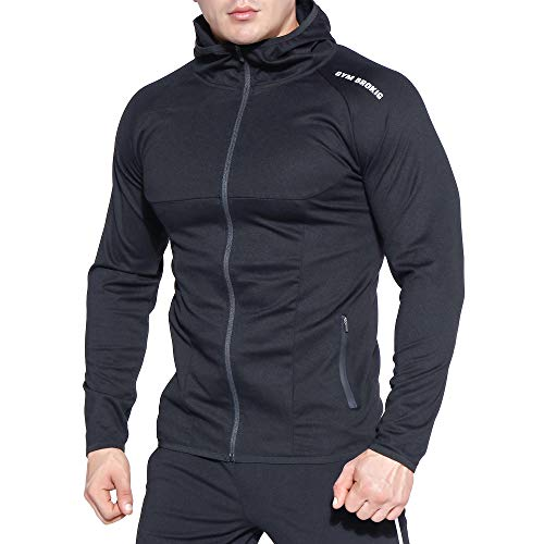 BROKIG Mens Gym Zip Up Hoodie,Lightwight Muscle Slim Fit Workout Hooded Sweatshirts With Zipper Pockets (Small, Black)