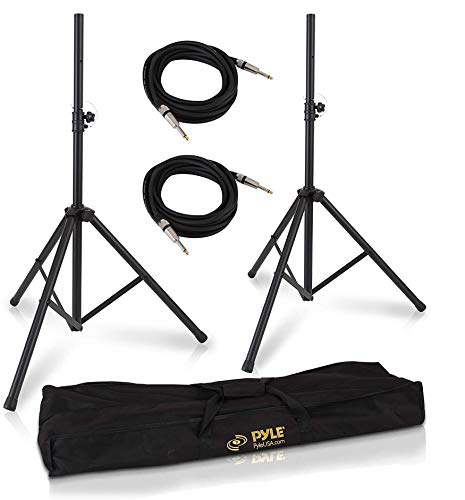 "Pyle Universal Stand Kit-Height Adjustable 3.6' -5.6' Tall Sound Equipment Tripod Mount for Speakers w/ 35mm Insert-Home, Stage, Studio Use-(2), 21' ft 1/4"" Audio Cable (PMDK102)"
