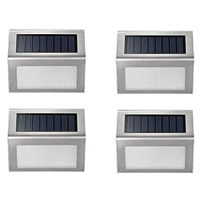 Solar Deck Lights, iThird Solar Powered Step Lights Stainless Steel Outdoor Lighting for Steps Paths Patio Stair Auto On/Off Waterproof