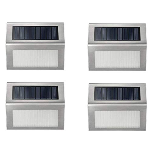 Solar Step Lights, iThird 3 LED Solar Powered Stair Lights Stainless Steel Outdoor Lighting for Deck Fence Path Auto On/Off Waterproof 4 Pack