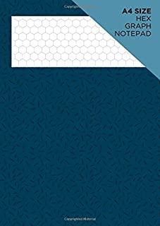 A4 size hex graph notepad: Hexagonal grid paper: Vertically aligned hexagons measure 1cm: For chemistry structure sketches: Blue pattern cover design