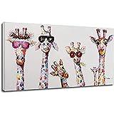 Cuadros en lienzo para la habitación de los niños, cuadros decorativos en lienzo Graffiti Art Animal Pop Art Prints Curious Giraffes Family Poster 50x90cm (20x35in)con marco