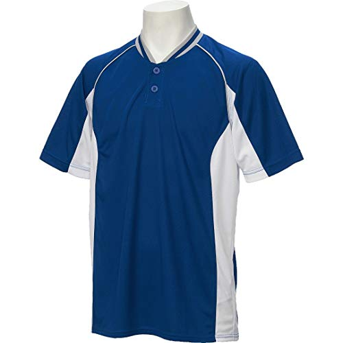 アシックス(asics) 野球 ベースボール シャツ 半袖 2ボタン BAD020 Lサイズ ロイヤル/ホワイト BAD020 ロイヤル/ホワイト L