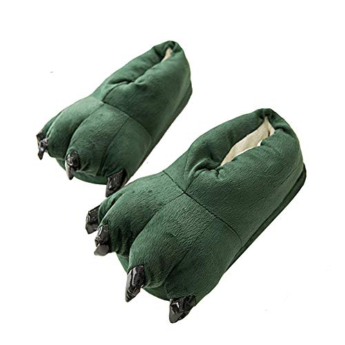 Thicken Warm Winter Slippers Dinosaur Claws Slippers Novelty Feet Costume for Men (US 8-12, Green)
