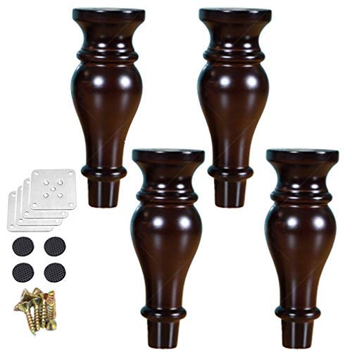 BJYG Pack of 4 Wood Furniture Parts Sofa Legs,Gourd Shape Wooden Furniture Legs,for Tables,Chairs,Cabinets,Coffee Tables Replacement Feet,with Screws,Multiple Colors and Sizes(brown18cm/7in)
