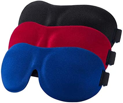YIVIEW Sleep Mask Pack of 3 Lightweight Comfortable Super Soft Adjustable 3D Contoured Eye Masks product image