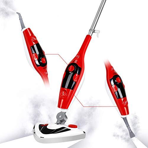 SIMBR Mopa a Vapor Multifuncional 12 en 1 Limpiador a Vapor 1500W con Inclinación de 180° Vaporeta con Cable de 7m y 11 Accesorios, Calenta en 25 Segundos, Fregona de Vapor con Cabeza Triangular
