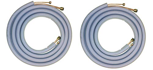 """Line Set for Mini Split Air Conditioner 2-Pack (1/4"""" X 1/2') - Typically Used 12,000/18,000 BTU Systems - All Copper (16 Ft) with Insulation - Flared Fittings"""