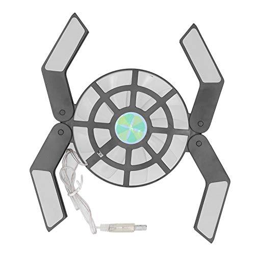Hyuduo1 Ventilador Radiat de CPU Wind Force de 2500 RPM con Fuente de alimentación de Cable USB, Almohadilla refrigeradora con Soporte Plegable con Ventilador Grande Luminoso LED(Negro)