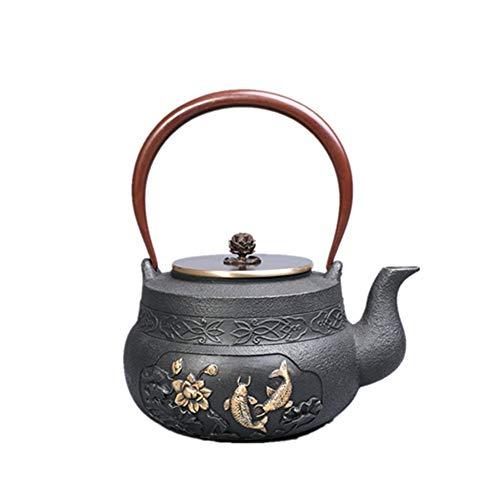 Tetera de hierro fundido Tetera del japonés del hierro Handiwork Tetera japonesa Tetera sin recubrimiento moldeada Patrón Tetera de hierro de Lotus de la carpa Para té de hojas sueltas y bolsitas de t