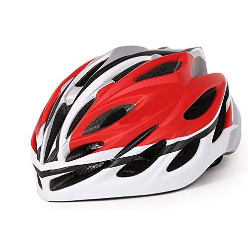 Casco Bicicleta ZWRY Adulto Niño Equipos De Bicicleta De Ciclismo Moldeo Integrado con Fuertes Eps Casco Protector L 58-61cm Blanco Rojo