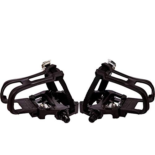 Bike Pedal 1 Pair Toe Clips for with Toe Clip Straps Aluminum Alloy for Spin Outdoor Exercise Bikes Black