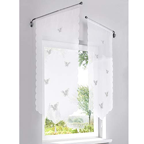 SIMPVALE 1 Pieza Cortina Visillos Diseño de Mariposas Huecas para Cocina Balcón Habitación Dormitorio, Blanco, 40x60cm
