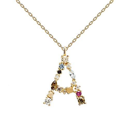 PDPAOLA - Collar Letra A - Plata de Ley 925 Bañada en Oro de 18k - Joyas para Mujer