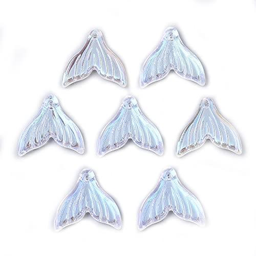 約100個 クリア 人魚の尾 ガラスペンダント ABカラー 透明 魚しっぽ フィッシュテイル チャーム スプレー塗装 アクセサリーパーツ ジュエリー用 DIY ハンドメイド 手芸材料 手作り素材 クラフト用 19x19.5x3.5mm
