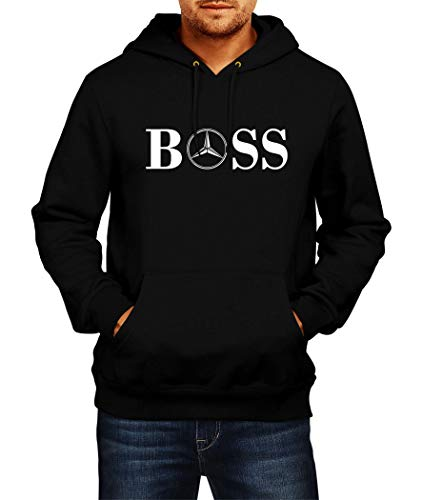Sweatshirt Mercedes BOSS Logo Hoodie Herren Men Car Auto Tee Black Grey Long Sleeves Present Christmas (2XL, Black)