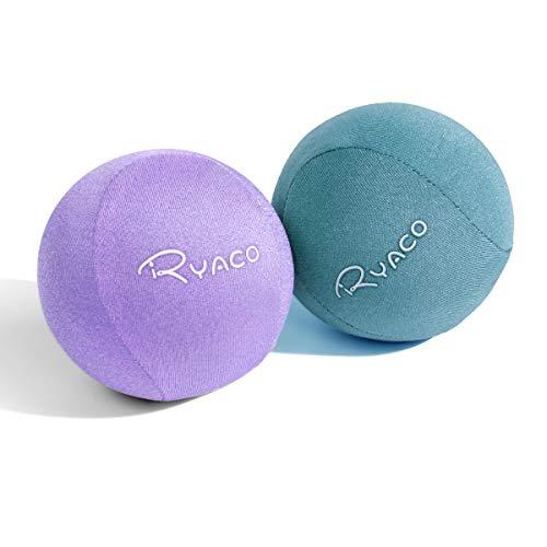 Ryaco Pallina Antistress Mano Terapia Palline Palla per Riabilitazione Fisioterapia Esercizi Terapeutiche Spremere Palle Dito Grip Uovo Gel, Confezione da 2 (Viola + Verde)