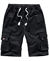 Men's Shorts Casual Classic Fit Drawstring Summer Cotton Shorts with Elastic Waist and Pockets Black