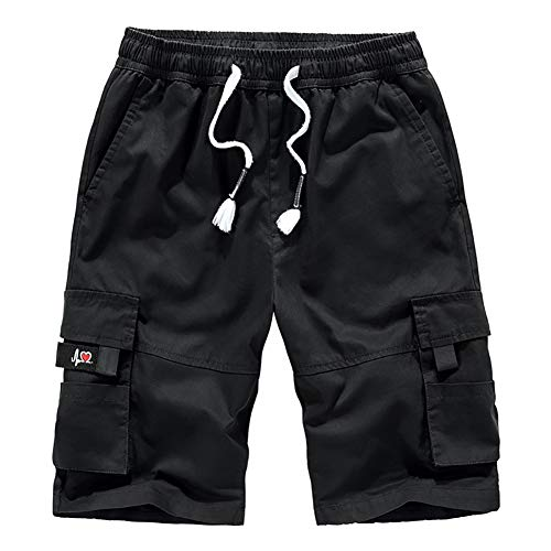 Big and Tall Utility Shorts Men's Outdoor Cotton Hiking Cargo Lightweight Shorts Work Short Knee Length Black
