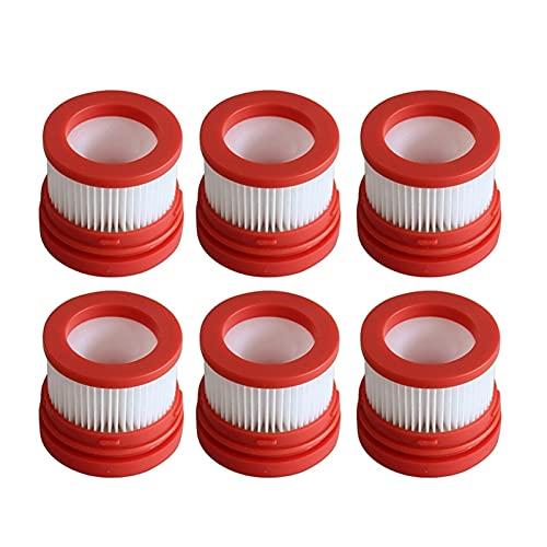 Filtro de aspiradora Filtro Hot-6 PCS para Piezas de aspiradora de Mano inalámbrica Inicio V9 filtros de aspiradoras (Color : White Red)