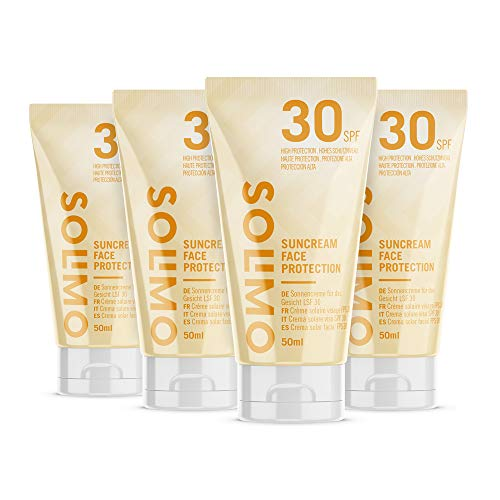 Amazon Brand - Solimo - SUN - Sun Cream Face Protection, SPF 30, with Vitamin E, antioxidant (4x50 ml)