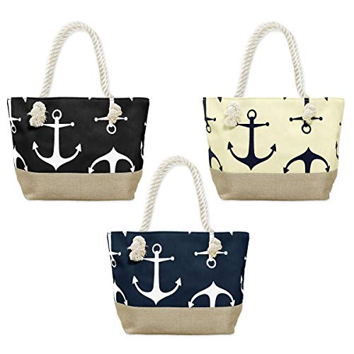 SoulCats® Strandtasche Shopper Freizeittasche mit schönem Anker Motiv in beige blau