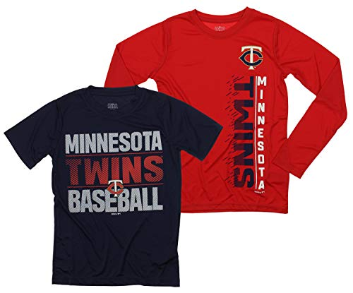 Outerstuff MLB Boys Young Baseball Fan Two Performance T-Shirt Set, Minnesota Twins, Large 14-16