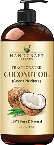 Fractionated Coconut Oil – 100% Pure & Natural Premium Therapeutic Grade - Coconut Carrier Oil for Essential Oils, Massage, Moisturizing for Skin & Hair, Great for Dogs – 16 fl. oz- Bottle May Vary